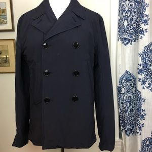 J. LINDEBERG navy double breasted waxed coat L